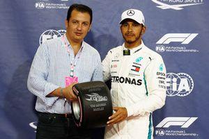 Lewis Hamilton, Mercedes AMG F1, celebrates after taking pole position.
