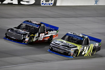 Noah Gragson, Kyle Busch Motorsports, Toyota Tundra Safelite AutoGlass and Justin Haley, GMS Racing, Chevrolet Silverado Fraternal Order Of Eagles