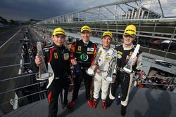 GTE podium: race winners #66 JMW Motorsport, Ferrari F458 Italia: Robert Smith, Rory Butcher, Jody F