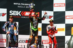Podium: race winner Kenan Sofuoglu, Kawasaki Puccetti Racing, second place Lucas Mahias, GRT Yamaha Official WorldSSP Team, third place P.J. Jacobsen, MV Agusta