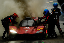 #55 Mazda Motorsports Mazda DPi: Jonathan Bomarito, Tristan Nunez, Spencer Pigot, on fire in the pits