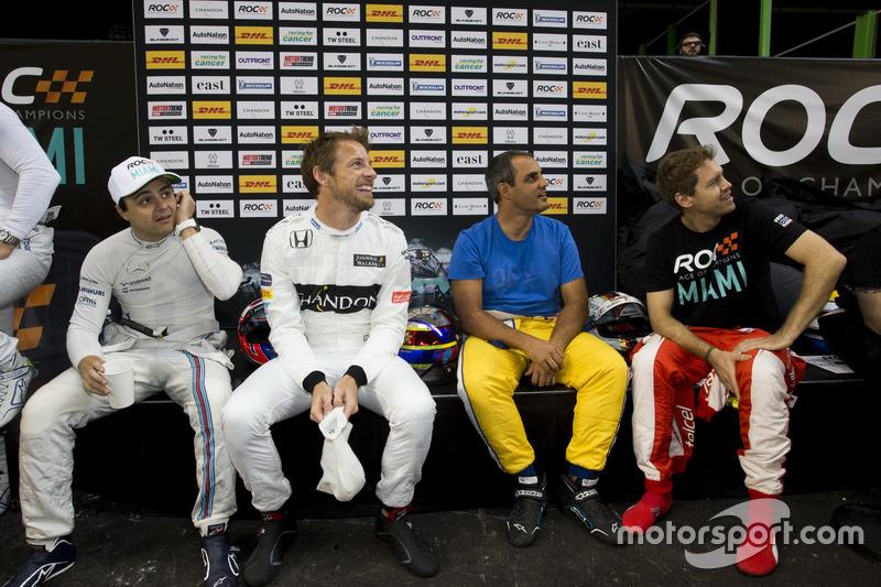 Felipe Massa, Jenson Button, Juan Pablo Montoya y Sebastian Vettel