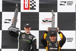 Podium: race winner Josef Newgarden, Team Penske Chevrolet, third place Simon Pagenaud, Team Penske