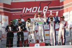 Podio Super GT3 gara 1, Comandini-Cerqui (BMW Team Italia,BMW M6 S.GT3 #15), Veglia-Galbiati (Antone