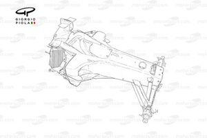 Détails du châssis de la Ferrari F2005, notez l'orientation des radiateurs