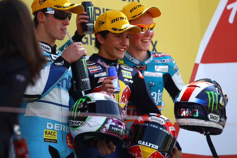 Podium: 1. Marc Marquez, 2. Pol Espargaro, 3. Bradley Smith
