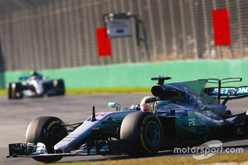 Lewis Hamilton, Mercedes AMG F1 W08, y Valtteri Bottas, Mercedes AMG F1 W08