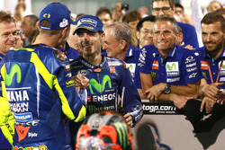 Race winner Maverick Viñales, Yamaha Factory Racing, third place Valentino Rossi, Yamaha Factory Rac