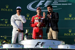 Podium: winner Sebastian Vettel, Ferrari, second place Lewis Hamilton, Mercedes AMG F1, Mark Webber