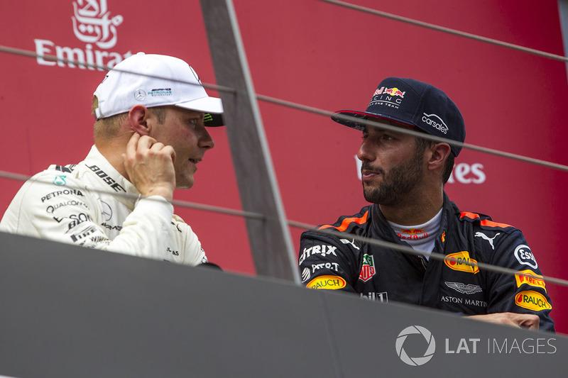 Подиум: победитель Валттери Боттас, Mercedes AMG F1, и обладатель третьего места Даниэль Риккардо, Red Bull Racing