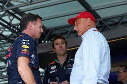 Christian Horner, teambaas Red Bull Racing Niki Lauda, voorzitter Mercedes AMG F1