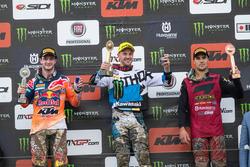 Podium: Winnaar Clément Desalle, Monster Energy Kawasaki Racing, tweede plaats Jeffrey Herlings, KTM Factory Racing, derde plaats Gautier Paulin, Rockstar Husqvarna