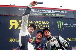Podium: winner Mattias Ekström, EKS RX, second place Sébastien Loeb, Team Peugeot Hansen, third place Petter Solberg, Petter Solberg World RX Team take a selfie