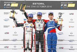 Podium Rookie: race winner Sacha Fenestraz, Tech 1 Racing; second place Lando Norris, Josef Kaufmann Racing; third place Robert Shwartzman, Josef Kaufmann Racing