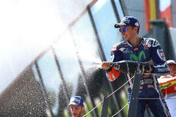 Podium: 3. Jorge Lorenzo, Yamaha Factory Racing feiert mit Champagne
