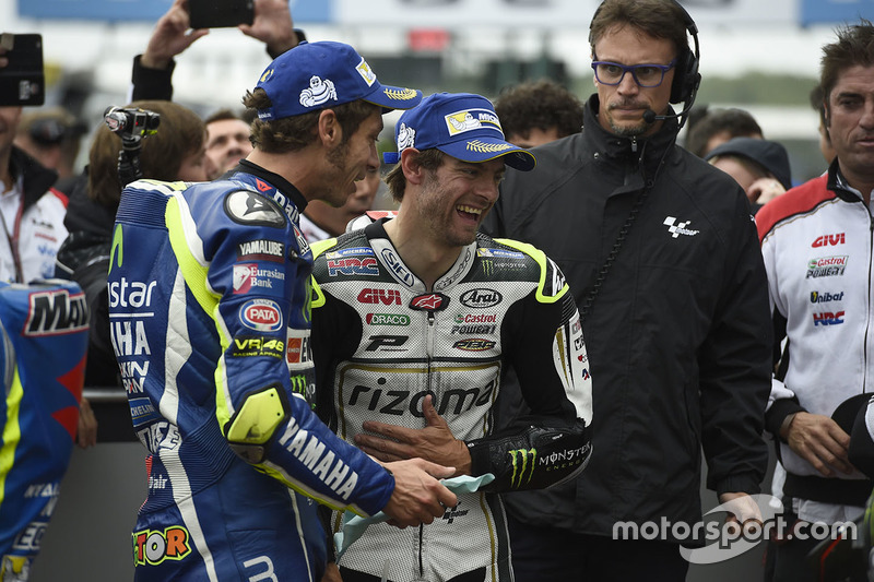 Poleman Cal Crutchlow, Team LCR Honda, secondo qualificato Valentino Rossi, Yamaha Factory Racing