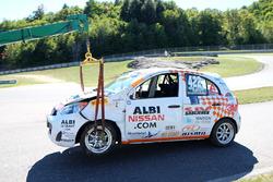 La voiture endommagée de Marc-Antoine Demers