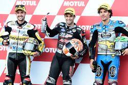 Polesitter Johann Zarco, Ajo Motorsport, second place Thomas Lüthi, Interwetten, third place Franco Morbidelli, Marc VDS
