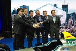 (L-R) Nelson Piquet Jr., NEXTEV TCR Formula E Team, Alejandro Agag, CEO of Formula E, Denis Coderre,