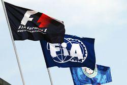 Les drapeaux de la F1 et de la FIA