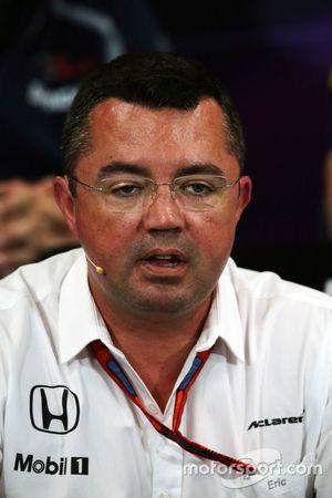 Eric Boullier, directeur de la compétition McLaren lors de la conférence de presse de la FIA