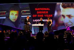 Eddie Jordan presents the National Driver of the Year award to Lando Norris
