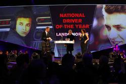 Eddie Jordan presents the National Driver of the Year award to Lando Norris