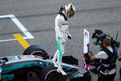 Polesitter Lewis Hamilton, Mercedes-Benz F1 W08  celebrates in parc ferme