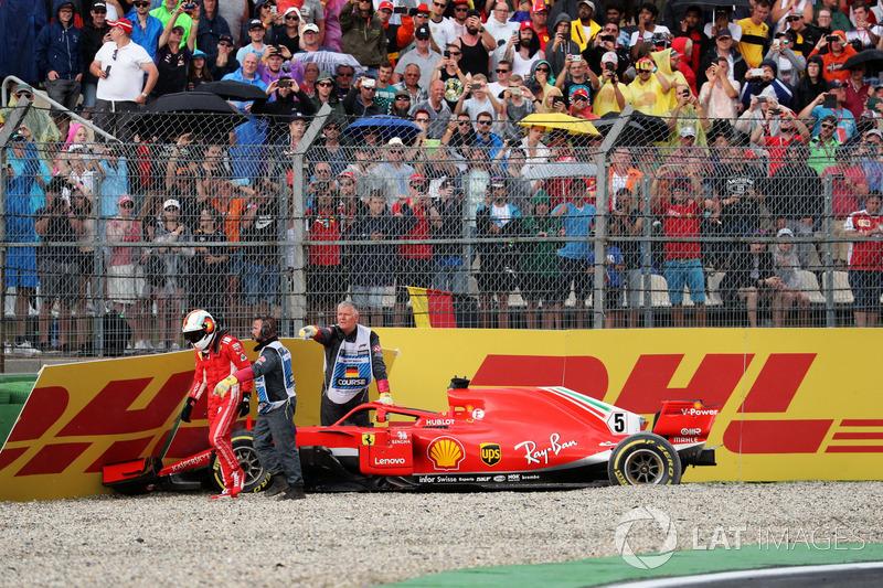 Sebastian Vettel, Ferrari SF71H kecelakaan
