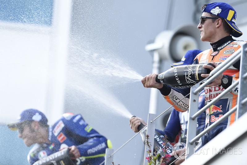 Le podium du GP d'Allemagne 2018 : 1er Marc Márquez, 2e Valentino Rossi, 3e Maverick Viñales