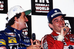 Пресс-конференция: чемпион мира Ален Прост, Williams, и победитель Айртон Сенна, McLaren