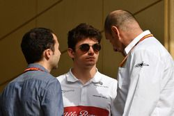 Charles Leclerc, Sauber with Nicolas Todt, Driver Manager and Bruno Michel