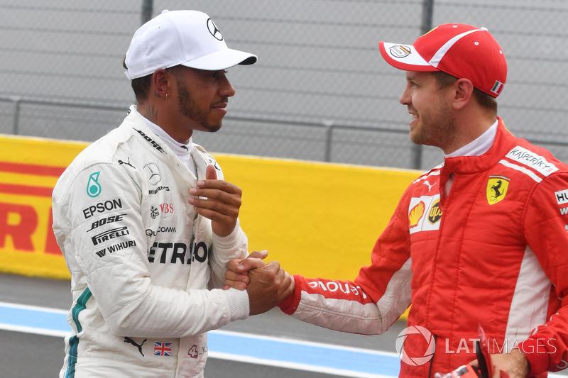 Lewis Hamilton, Mercedes-AMG F1 and Sebastian Vettel, Ferrari celebrate in parc ferme