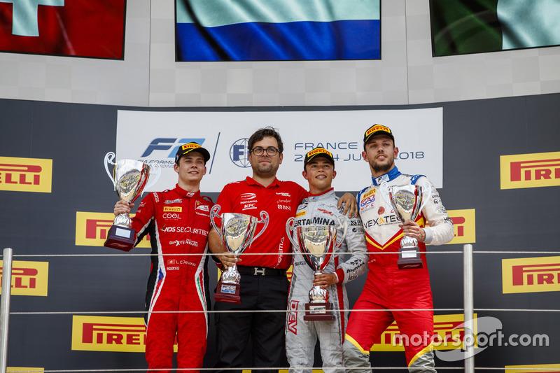 Podium: Louis Deletraz, Charouz Racing System, winnaar Nyck De Vries, PREMA Racing, Luca Ghiotto, Campos Racing