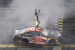 Erik Jones, Joe Gibbs Racing, Toyota Camry buyatoyota.com, celebrates after winning.