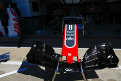 The nose cone and front wing of the Romain Grosjean Haas F1 Team VF-18