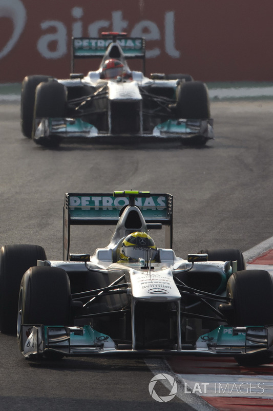 Nico Rosberg, Mercedes GP W02, leads Michael Schumacher, Mercedes GP W02