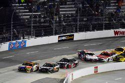 Kyle Busch, Joe Gibbs Racing Toyota wins as Denny Hamlin, Joe Gibbs Racing Toyota and Ryan Blaney, Wood Brothers Racing Ford wreck