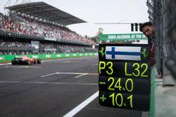 Pit board for Kimi Raikkonen, Ferrari SF70H