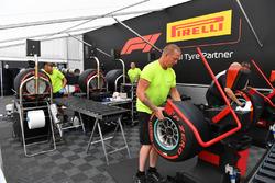 Pirelli tyres preparation area