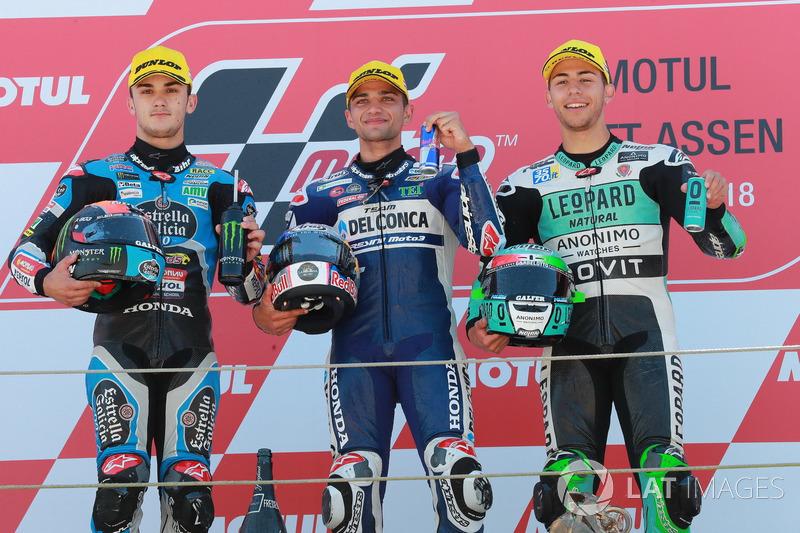 Podium: segundo clasificado Aron Canet, Estrella Galicia 0,0, ganador de la carrera Jorge Martin, Del Conca Gresini Racing Moto3, tercer clasificado Enea Bastianini, Leopard Racing