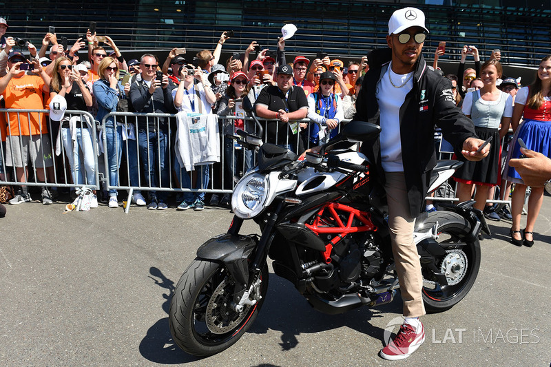 Lewis Hamilton, Mercedes-AMG F1 on an MV Agusta