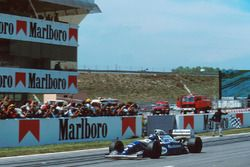 Damon Hill, Williams FW16 takes the chequered flag for victory
