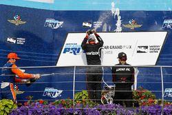 Scott Dixon, Chip Ganassi Racing Honda, Will Power, Team Penske Chevrolet, Robert Wickens, Schmidt Peterson Motorsports Honda, podium, champagne