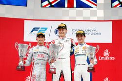 Race winner George Russell, ART Grand Prix, second place Nyck De Vries, PREMA Racing, third place Lando Norris, Carlin