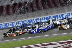 Noah Gragson, Kyle Busch Motorsports, Toyota Tundra Safelite and Johnny Sauter, GMS Racing, Chevrolet Silverado Allegiant Airlines