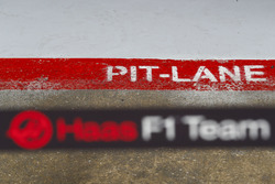 A pit-lane decal, outside of the Haas F1 Team garage