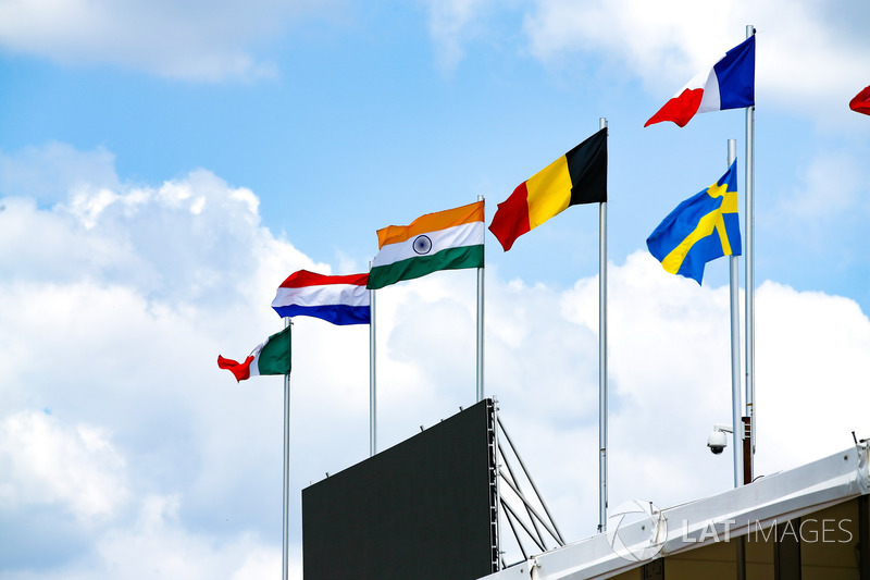 Flags above the pit lane