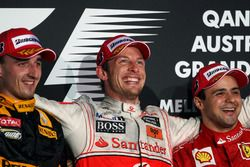 Podium: second place Robert Kubica, Renault F1 Team, Race winner Jenson Button, McLaren, second place Felipe Massa, Ferrari