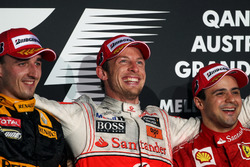 Podium : le second Robert Kubica, Renault F1 Team, le vainqueur Jenson Button, McLaren, le troisième, Felipe Massa, Ferrari
